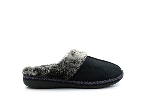 Zedzzz Womens Mule Slippers With Faux Fur Trim Black