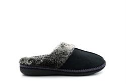 Zedzzz Womens Mule Slippers With Faux Fur Trim Black