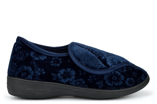 Cosies Womens Low Wedge Slippers With Touch Fastening And Embossed Flower Detail Navy