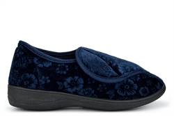 Cosies Womens Velcro Fastening Slippers With Embossed Flower Detail Navy