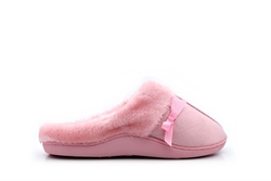 Womens Mule Slippers With Fur Trim And Bow Detail Pink
