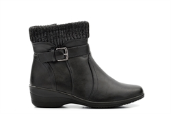 Womens Knitted Top Ankle Boots With Low Wedge Heel Black