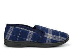 Jo & Joe Mens Tartan Textile Twin Gusset Slippers Navy Blue