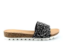 Krush Womens High Sparkle Glitter Slider Mule Sandals Black