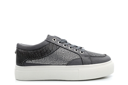 Krush Womens Platform Lace Up Skate Trainers With Diamante Detail Grey