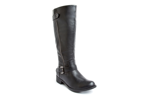 Womens Calf Boots With Side Zip Fastening And Buckle Detail Black