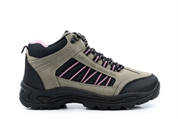 Womens Hiking/Walking Ankle Boots Grey/Pink