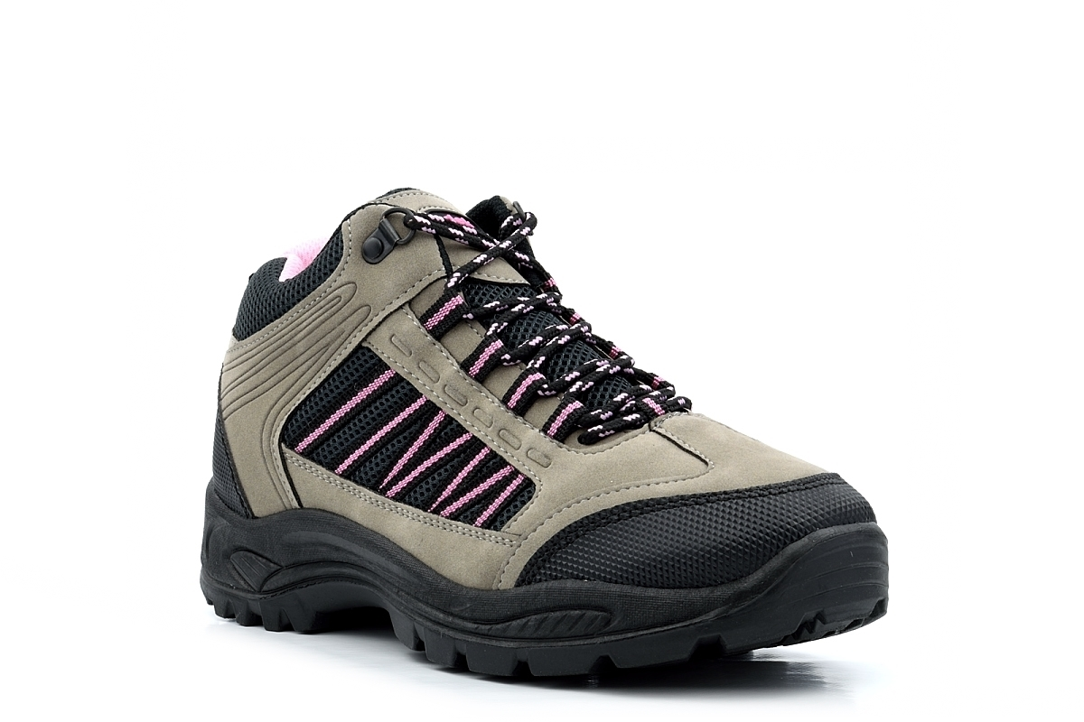 8bb02a8f278 Details about Womens Hiking Boots Ladies Walking Boots Trekking Ankle Boots  Lace Up Grey/Pink