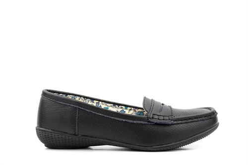 Womens Leather Loafers Black