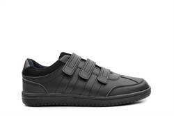 Mens Three Strap Velcro Fastening Shoes Black