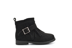 Girls Faux Suede Ankle Boots With Buckle and Tassel Detail Black