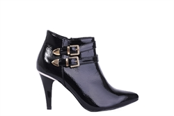 Womens Patent Ankle Boots With Diamante Buckle Detail Black