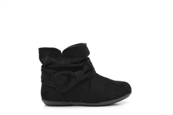 Girls Faux Suede Ankle Boots With Bow Detail Black