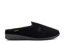 Dunlop Mens Ribbed Velour Mule Slipper Black