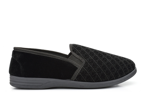Zedzzz Mens Twin Gusset Slip On Slippers With Extra Large Sizes Black