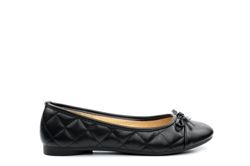 Womens Quilted Bow Detail Flat Shoes Black