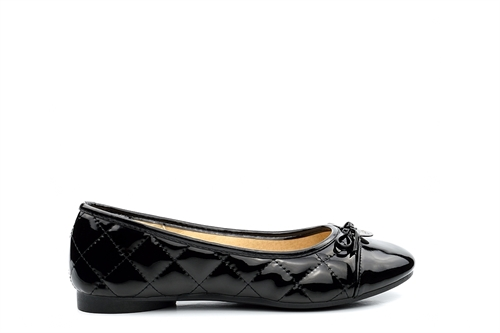 Chix Womens Quilted Flat Shoes With Bow Detail Patent Black