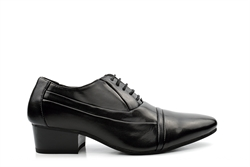Mens Cuban Heel Lace Up Shoes Black