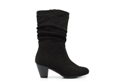Womens Faux Suede Mid Calf Boot Black
