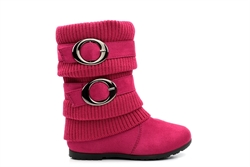 Girls Calf Boots With Faux Suede/Knitted Upper Fuchsia