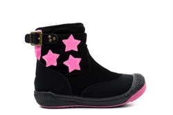 Girls Zip Up Hi Top Pumps With Pink Star Detail Black/Pink