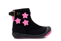 Girls Zip Up Hi Top Pumps With Pink Star Detail Black/Pink