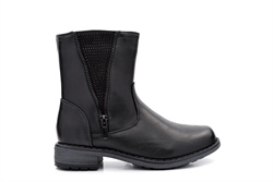 Girls Ankle Boots With Decorative Zip and Diamante Detail Black