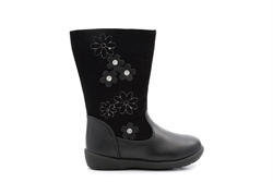 Chatterbox Girls Flower Detail Calf Boots Black
