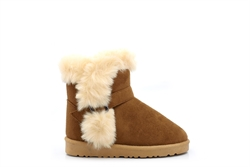 Chatterbox Girls Faux Suede Ankle Boots With Faux Fur Lining Tan