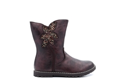 Chatterbox Girls Calf Boots Glitter Flower Detail Burgundy/Metallic