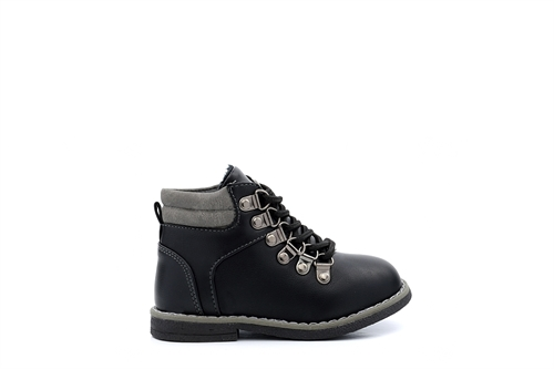 Chatterbox Boys Lace Up Ankle Boots With Faux Fur Lining Black