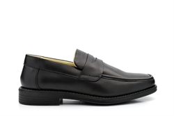TredFlex Mens Leather Loafers With Rubber Sole Black