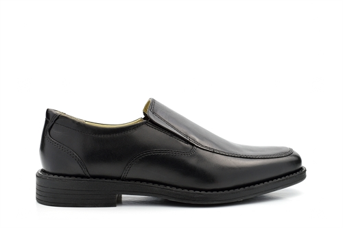 TredFlex Mens Twin Gusset Leather Shoes With Rubber Sole Black