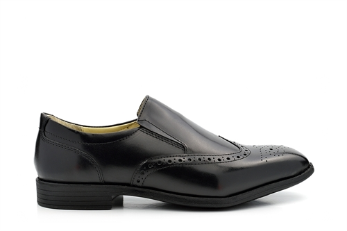 TredFlex Leather Slip On Brogue Shoes Black