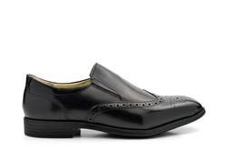 TredFlex Leather Slip On Brogue Shoes Black