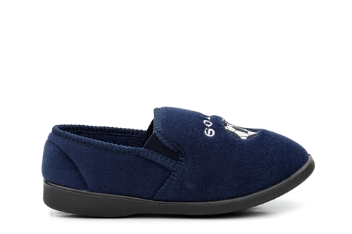 Zedzzz Boys Twin Gusset Football Slippers Navy