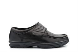 Dr Keller Mens Texas Fuller Fitting Leather Casual Shoes With Touch Fastening Black