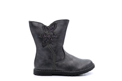 Chatterbox Girls Calf Boots Glitter Flower Detail Black/Metallic