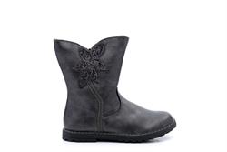 Chatterbox Girls Calf Boots Glitter Flower Detail Black/Metallic