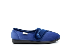 Dr Keller Womens Machine Washable Velcro Fastening Slippers Blue