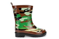 StormWells Boys Camouflage Print Waterproof Rubber Wellington Boots Green/Brown/Black