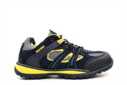 Grafters Unisex Light Weight Safety Trainers With Real Suede Upper Navy/Yellow/Black