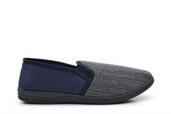 Mens Herringbone Gusset Slippers Extra Large Sizes Navy