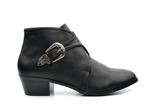 Womens Faux Leather Ankle Boots With Adjustable Buckle Strap Black