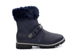 Girls Ankle Boot With Diamante Strap Navy
