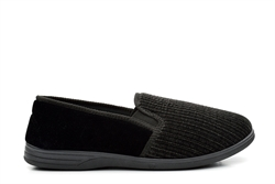 Zedzzz Mens Twin Gusset Striped Slippers Extra Large Sizes Black