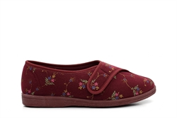 Sleepers Womens Wide Fit Slippers With Easy Touch Fastening Burgundy (EE Fitting)