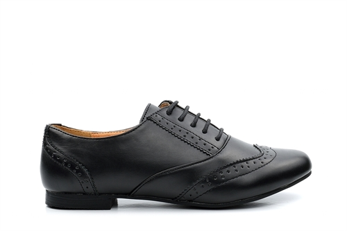 Womens Brogue Shoes With Low Heel Black (Sizes 6 - 8)