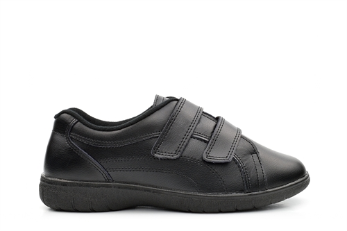 Boulevard Womens Wide Fit Leather Shoes With Velcro Fastening Black (EEE Fitting)