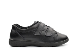 Womens Wide Fit Leather Shoes With Velcro Fastening Black (EEE Fitting)